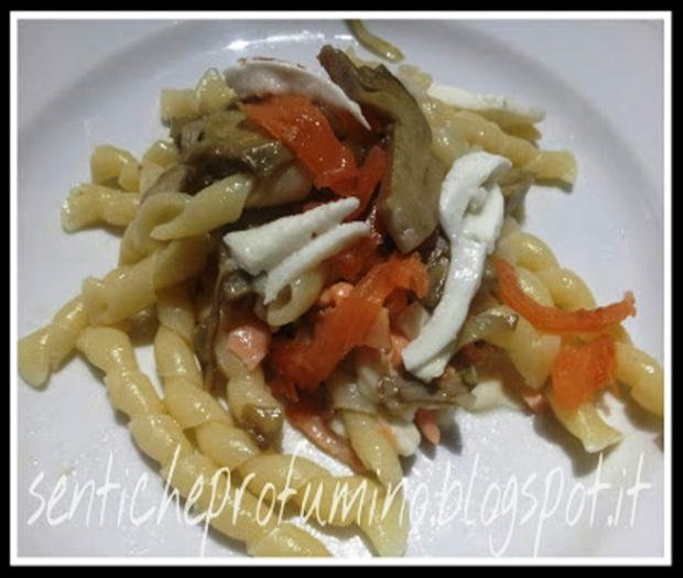 Fusilli napoletani with artichoke salmon and buffalo mozzarella